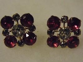 Vintage Screw On Earrings Diamond Purple Tone Gems Costume Fashion Jewelry - $14.66