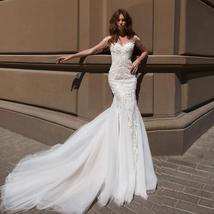 Sexy Open Back Beaded Sequined Lace Slim Elegant Mermaid Wedding Dresses image 5