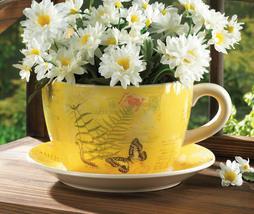 Yellow Butterfly Theme Teacup & Saucer Planter Drain Hole Bottom of Teacup - $32.95