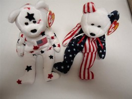 Ty Beanie Babies with Tags Patriotic Bundle Glory 1998 and Spangle 1999 ... - $11.87
