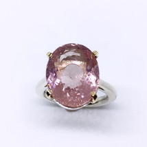 OMG ???? incredible 14K Gold (prongs) and sterling silver ring Morganite - $539.00