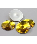 25mm Gold Topaz H107 Flat Back Round Satellite Acrylic Gems High Quality... - $6.24