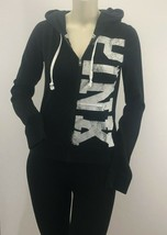 PINK by Victoria Secret Black Zip up hoodie PINK front LOVE back Small - $25.00