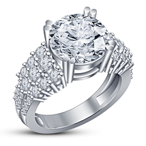 White Gold Finish Sterling Silver Round Cut Lab Diamond Women's Engageme... - $74.93