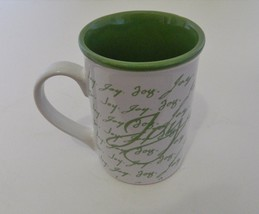 Inspirational Gibson Coffee Mug / Cup Joy Green Letters Green Inside - $12.86