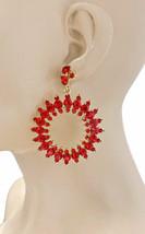 "2.75"" Long Vivid Red Acrylic Rhinestones Medium Size Hoop Earrings, Urban,Casual - $18.53"