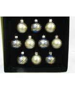 NEW Christmas MINI Glass Royal Blue Gold Ornaments Decor 1.5 BOX of 10 - $19.99