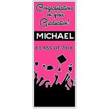 Class of 2018 Graduation Door Banner Black and Fuchsia Backdrop - £31.89 GBP