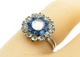 925 Sterling Silver - Vintage Blue & White Topaz Flower Band Ring Sz 5.5... - $22.40