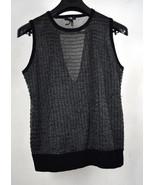 Paige Knit Sweater Vest Metallic Wool Gray Black L - $24.75