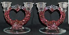Pair 1930's Westmoreland Della Robbia Depression Glass Candlesticks Ruby... - $89.99