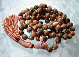 Picture Jasper Beaded Necklace 8 mm, Natural Healing Stones, Gemstone Beaded Wra - $119.99
