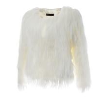 Fluffy White Glow in the Dark Faux Fur Coat Night Club Halloween Costume Women - $135.10