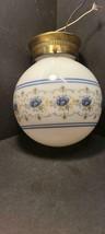 "Quoizel, Abigail Adams, Milk Glass & brass ceiling light. Blue Poppy. 8X8"" rd. - $27.55"