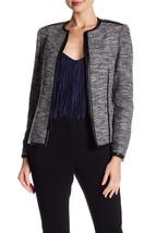 $159 Anne Klein Faux-Leather-Trim Tweed Blazer Black / Mariner 14 - $102.95