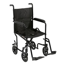 "Drive Medical Deluxe Lightweight Aluminum Transport Wheelchair, Black, 17"" - $154.70"