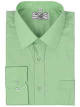 Boltini Italy Men's Green Long Sleeve Solid Barrel Cuff Dress Shirt Size 4XL image 1