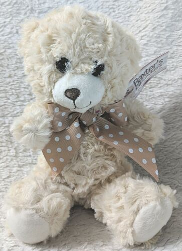 Baxters Bears 8 Inch Small Cuddley Off White Bear With A Brown Polka Dot Bow