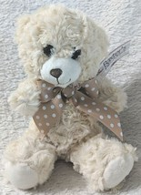 Baxters Bears 8 Inch Small Cuddley Off White Bear With A Brown Polka Dot Bow image 1