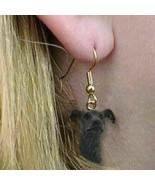 VTG GREYHOUND BRINDLE Dog Head Earrings Jewelry Dangle Keepsakes Black R... - $16.29