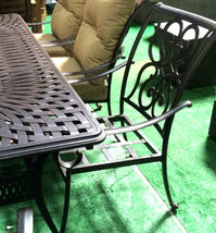11 piece aluminum outdoor dining set patio chairs table Santa Anita bronze image 3
