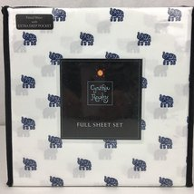 Cynthia Rowley Navy Elephants on White Microfiber Sheet Set Full - $53.00