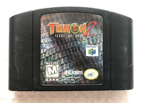 ☆ Turok 2 Seeds of Evil (Nintendo 64 1998) RARE AUTHENTIC N64 Black Game Cart ☆