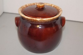"""Hull Pottery Bean Pot With Lid Oven Proof USA Brown Drip Glaze 5.75"""" Tal... - $32.71"""