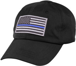 Black Tactical Operator Cap with Removable Thin Blue Line USA Flag Patch - $12.99