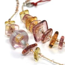Necklace Antique Murrina, CO714A99, Pink, 90 cm, Squares Spheres, Glass Murano image 3