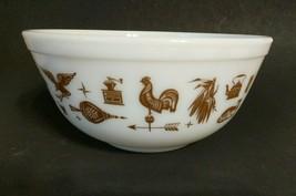 Pyrex American Heritage Large Mixing Stacking Bowl #403 White w/ Brown Design - $14.83