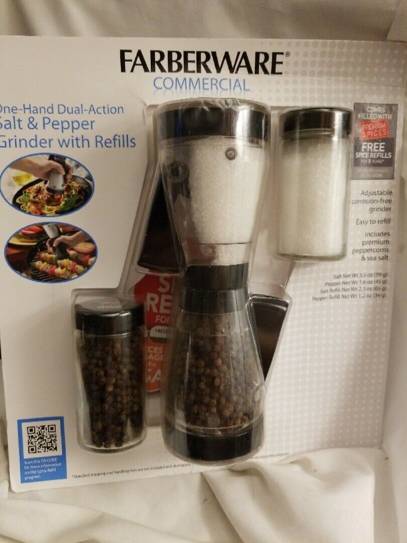 Primary image for Farberware Dual Salt & Pepper Grinder w/Refills One hand dual action