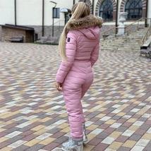 European Women's OnePiece Pink Duck Down Fur Lined Hooded Pink Ski Suit Snowsuit image 2