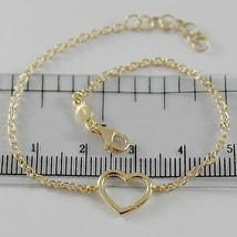 18K YELLOW GOLD BRACELET 7.10 INCHES WITH HEART, ROUND ROLO CHAIN, MADE IN ITALY image 1
