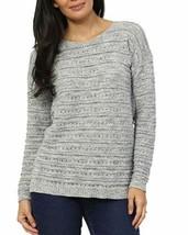 NEW Women's Leo & Nicole Ladies' Pointelle Sweater Stratus Blue
