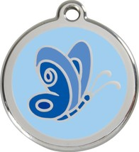 Red Dingo Butterfly Enamel/Solid Stainless Steel Engraved ID Cat/Dog Tag - £10.74 GBP