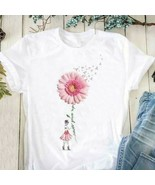 Breast Cancer Warrior Daisy Never Give Up Ladies T-Shirt Cotton S-3XL - $19.74