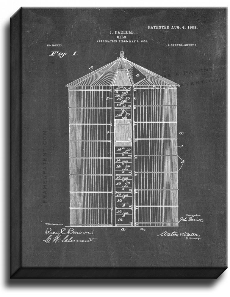 Primary image for Silo Patent Print Chalkboard on Canvas
