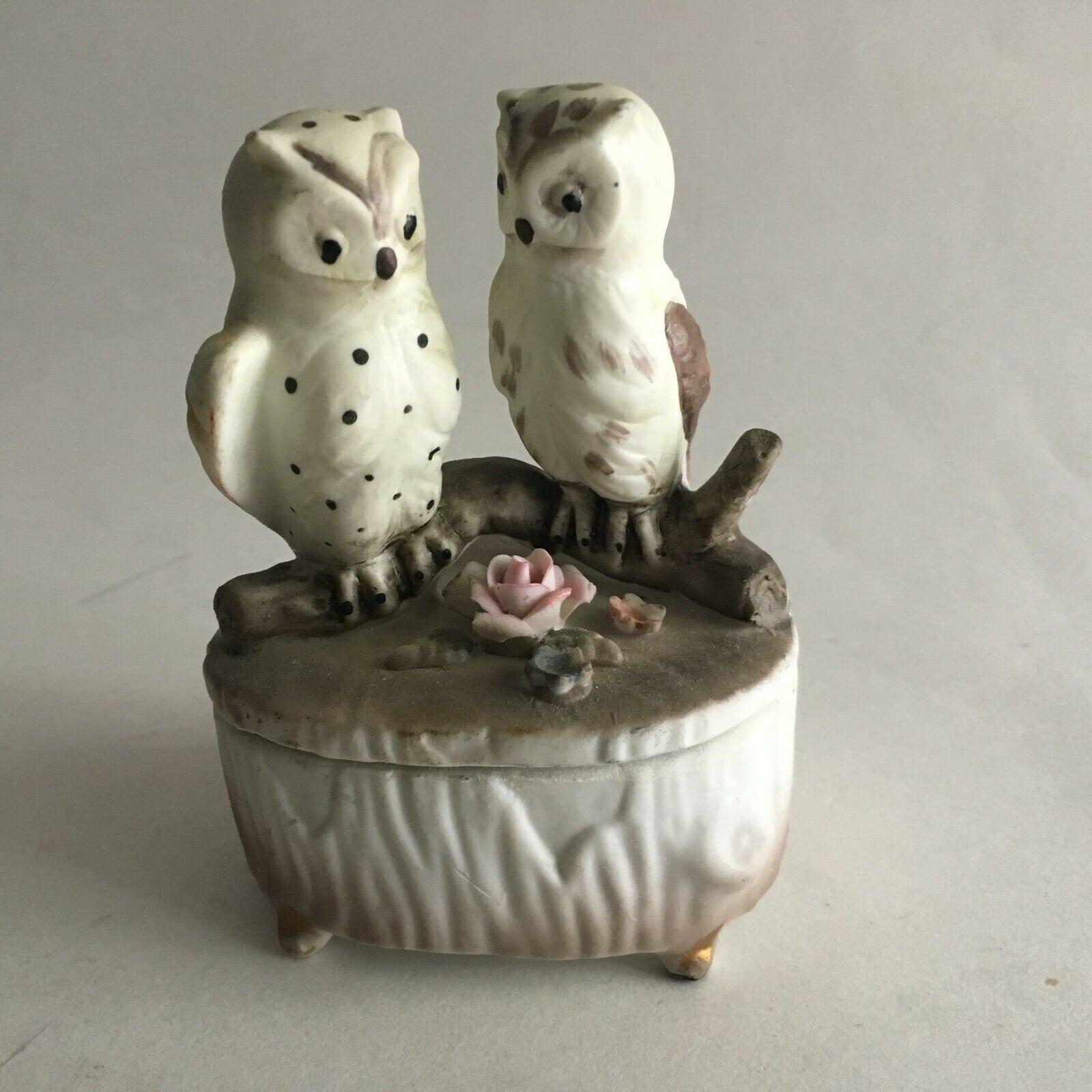 "Vintage Owl Ceramic Figurine Statue Trinket Box w/Lid 4X3X2"" Mid Century"