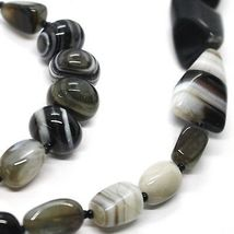 Long Necklace 120 cm, 1.2 Metres, White Agate Black Grey Banded image 4