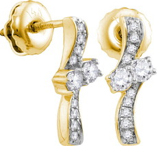 14k Yellow Gold Round Diamond 2-stone Hearts Together Screwback Earrings 1/4 - $360.00