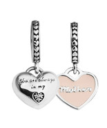 A bracelets mother daughter hearts silver beads with soft pink enamel 100 925 sterling thumbtall