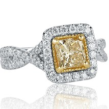 1.56 TCW Light Yellow Princess Cut Diamond Engagement Ring Infinity 14k White Go - $2,969.01