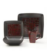 Gibson Elite Cabazon 16 Piece Soft Square Stoneware Dinnerware Set in Red - $76.42