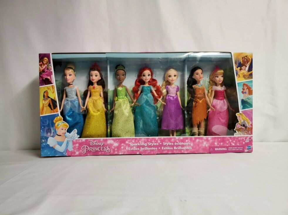 2017 Disney Princess Sparkling Styles Set of 7 Dolls NEW SEALED