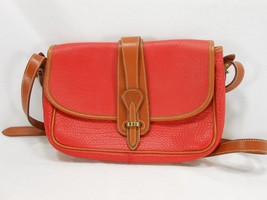 Vintage Dooney & Bourke All Weather Leather Red & Tan Shoulder Bag Pebbled RARE - $188.09