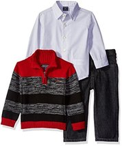 Nautica Baby Three Piece Set with Woven, Quarter Zip Sweater, Denim Jean, Red Ro