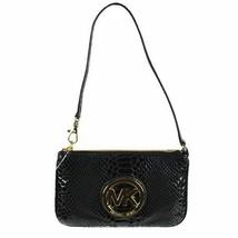 NEW! Michael Kors Fulton Black Embossed Leather Wristlet-Black - $98.88