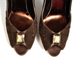 Heel Toe Stone Leather Brown 38 Open Italy Clear Swirl Square 5 Gunmetal fFSqwZR