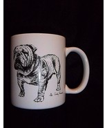 BULLDOG Bull Dog MUG Black White Vtg Cindy Farmer Artist 1985 ROSALINDE - $22.23